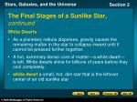 the final stages of a sunlike star continued