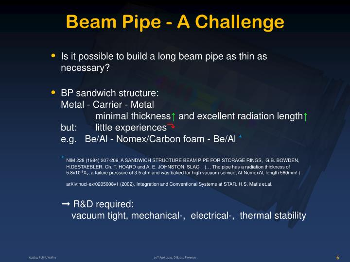 Beam Pipe - A Challenge