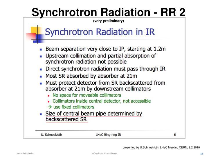 Synchrotron Radiation - RR 2