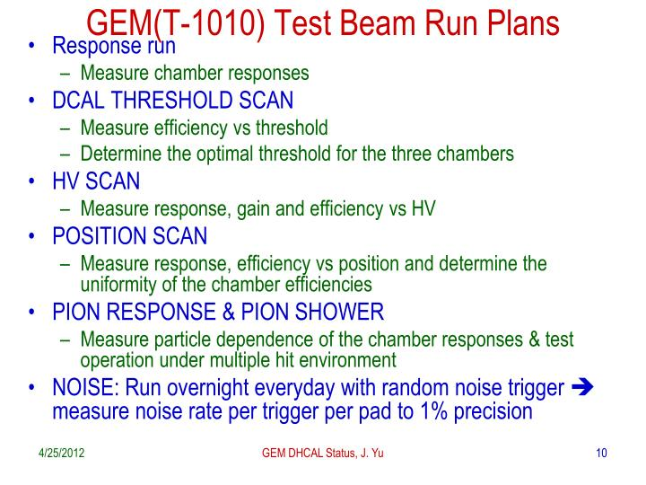 GEM(T-1010) Test Beam Run Plans