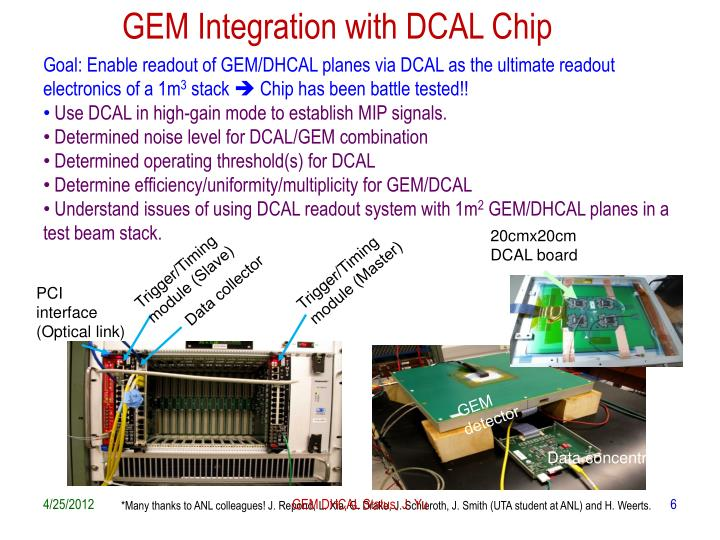 GEM Integration with DCAL Chip