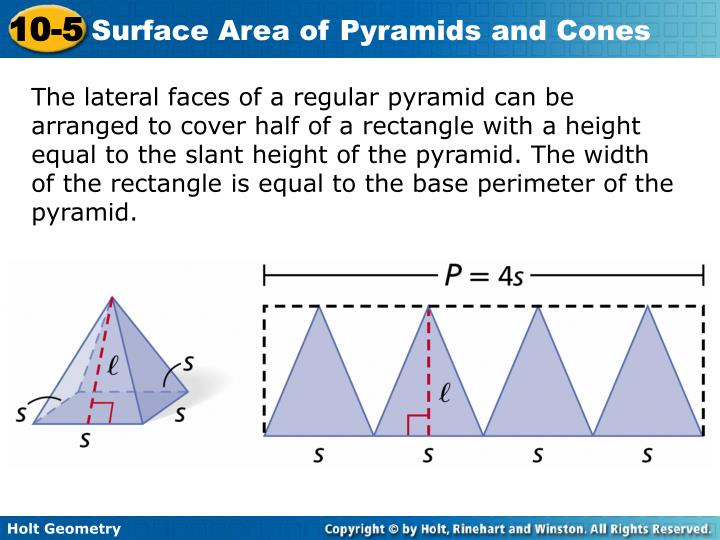 The lateral faces of a regular pyramid can be arranged to cover half of a rectangle with a height equal to the slant height of the pyramid. The width of the rectangle is equal to the base perimeter of the pyramid.