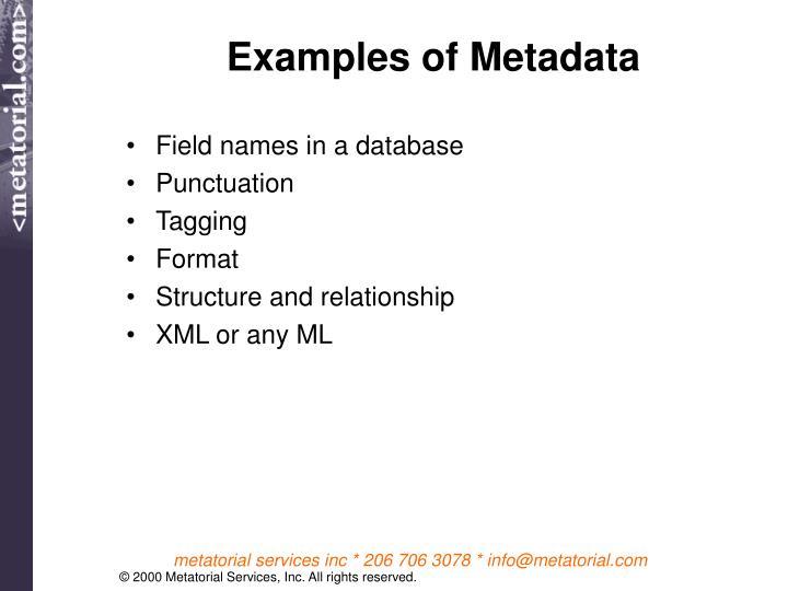 Examples of Metadata