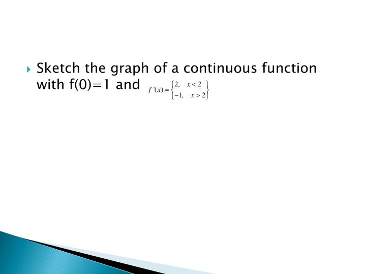 Sketch the graph of a continuous function with f(0)=1 and