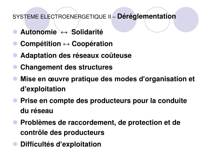 SYSTEME ELECTROENERGETIQUE II –