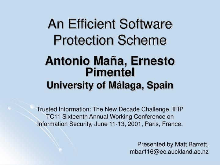 An efficient software protection scheme
