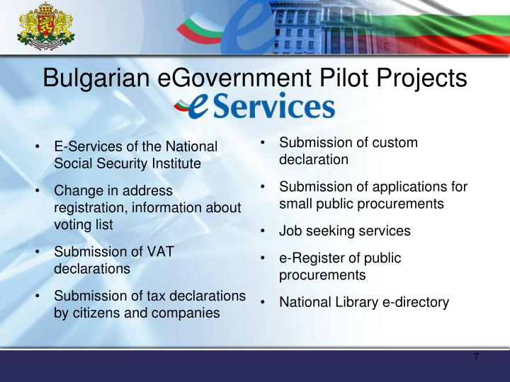 Bulgarian eGovernment Pilot Projects