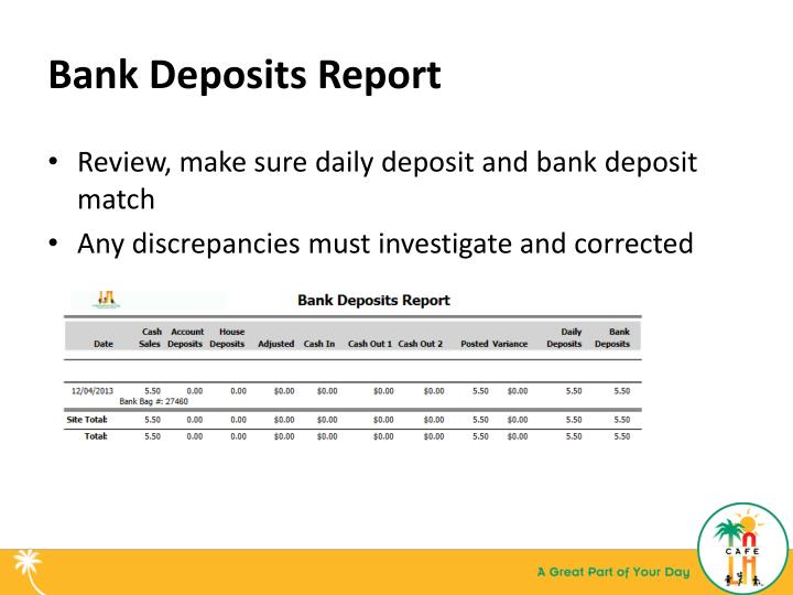 Bank Deposits Report