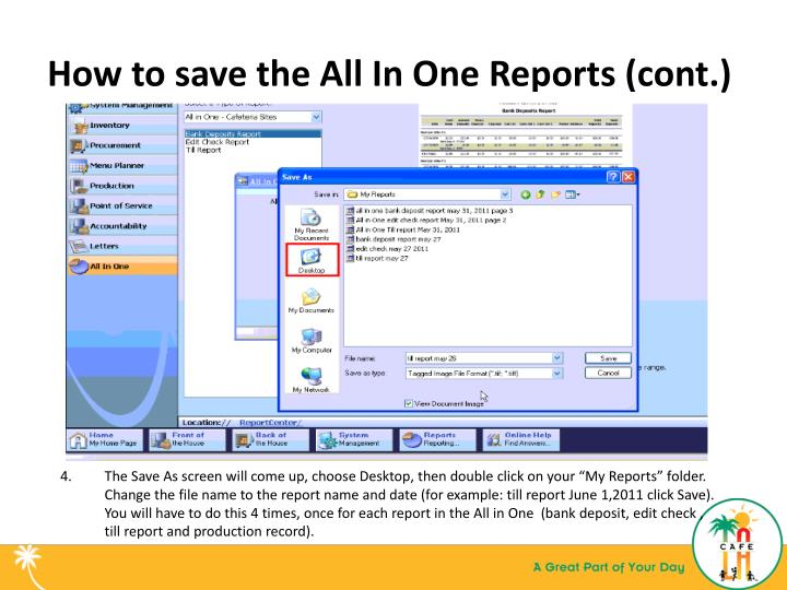 How to save the All In One Reports (cont.)