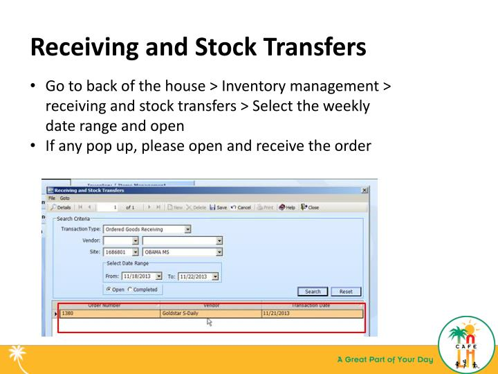 Receiving and Stock Transfers