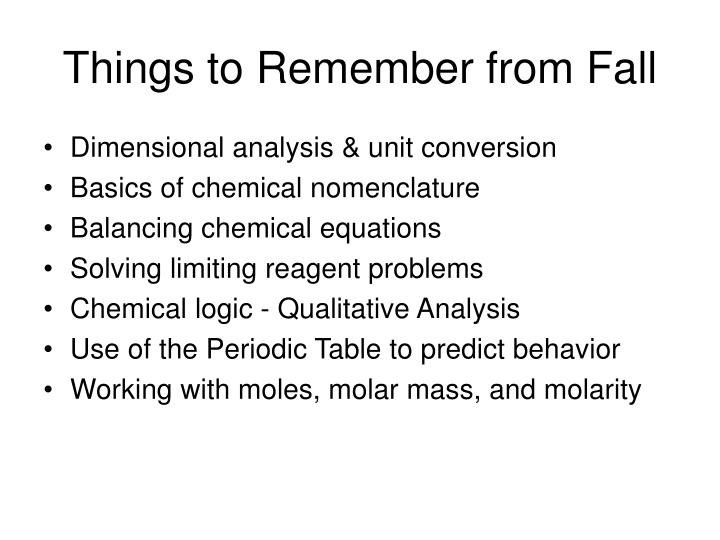Things to remember from fall