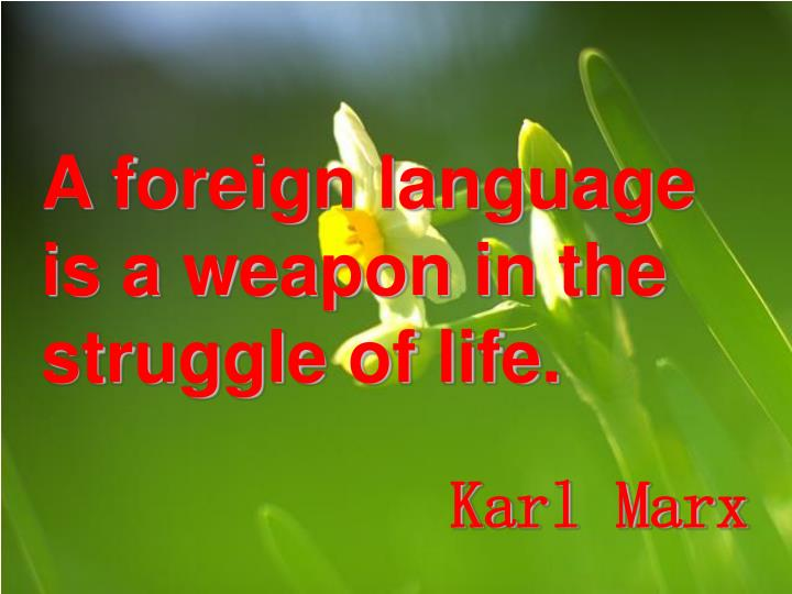 A foreign language is a weapon in the struggle of life.
