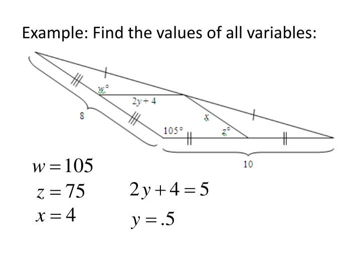 Example: Find the values of all variables: