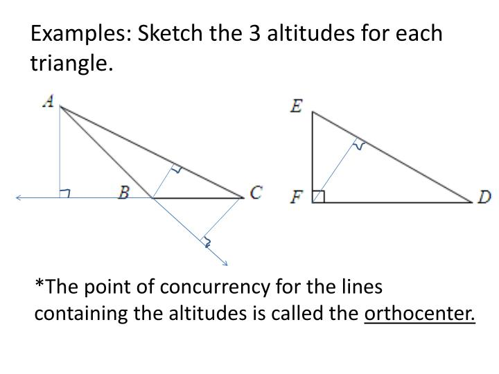 Examples: Sketch the 3 altitudes for each triangle