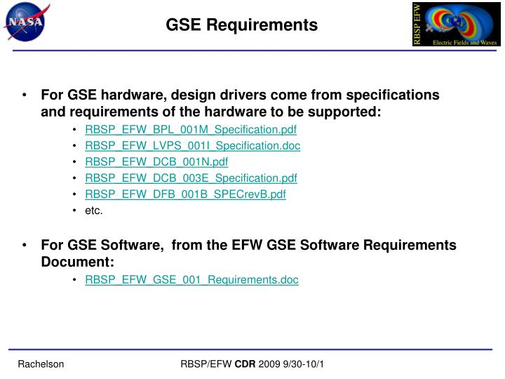 GSE Requirements