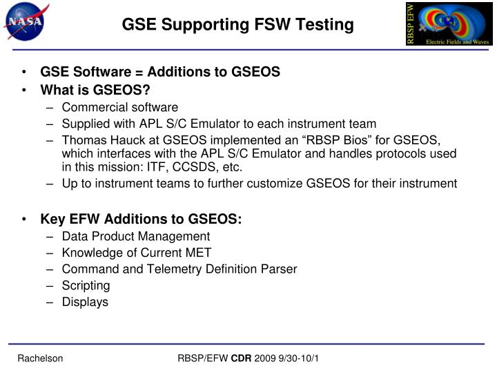GSE Supporting FSW Testing