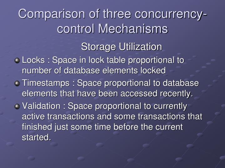 Comparison of three concurrency-control Mechanisms