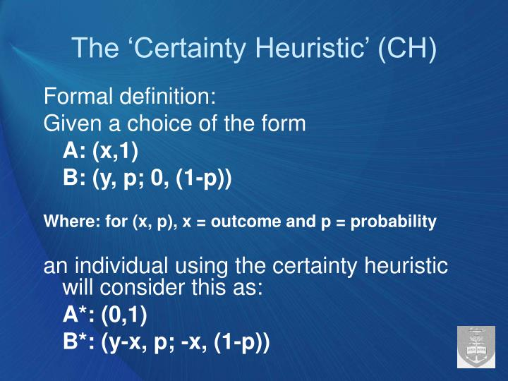 The 'Certainty Heuristic' (CH)
