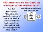 what means does the holy spirit use to bring us to faith and sanctify us3