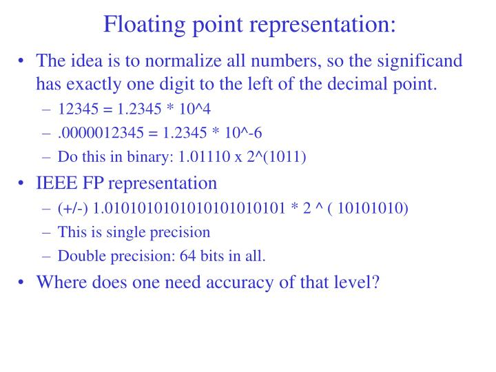 Floating point representation: