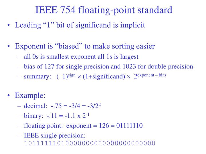 IEEE 754 floating-point standard