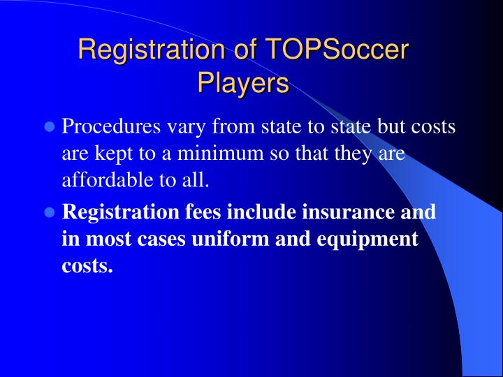 Registration of TOPSoccer Players