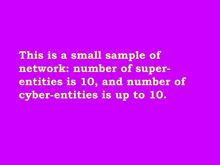This is a small sample of network: number of super-entities is 10, and number of cyber-entities is up to 10.