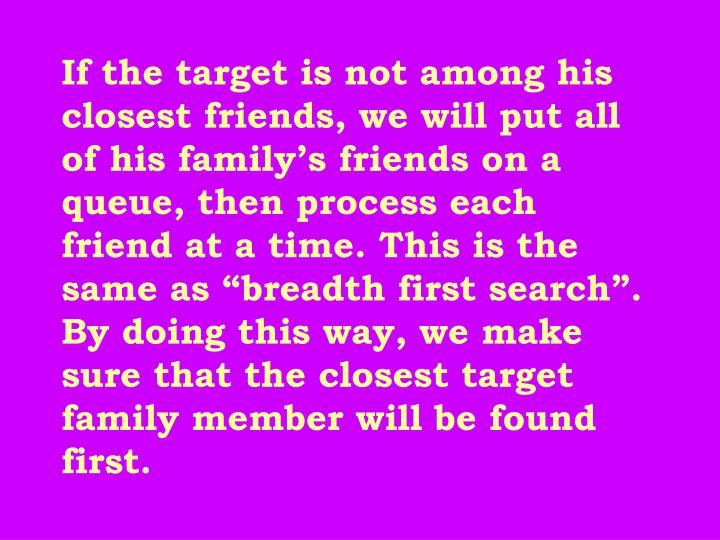 "If the target is not among his closest friends, we will put all of his family's friends on a queue, then process each friend at a time. This is the same as ""breadth first search"". By doing this way, we make sure that the closest target family member will be found first."