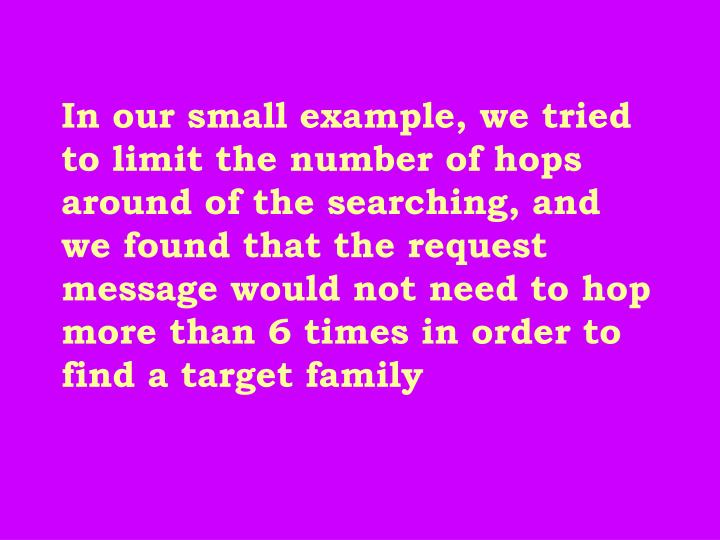 In our small example, we tried to limit the number of hops around of the searching, and we found that the request message would not need to hop more than 6 times in order to find a target family