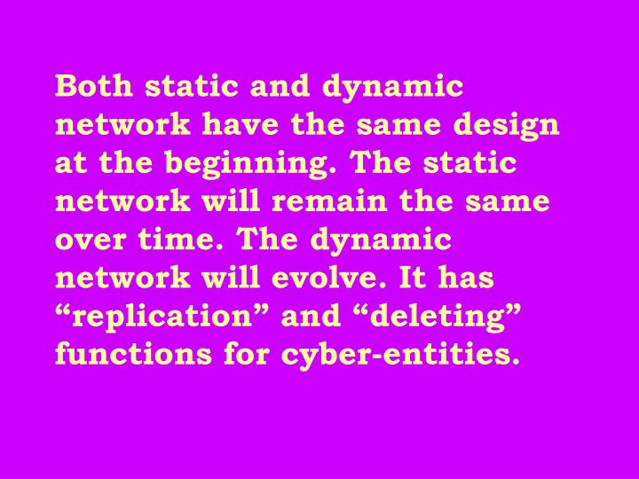 "Both static and dynamic network have the same design at the beginning. The static network will remain the same over time. The dynamic network will evolve. It has ""replication"" and ""deleting"" functions for cyber-entities."