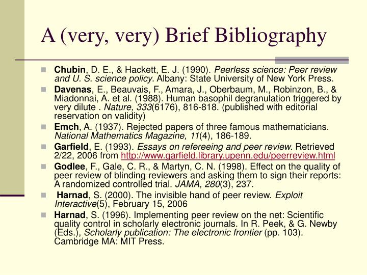 A (very, very) Brief Bibliography