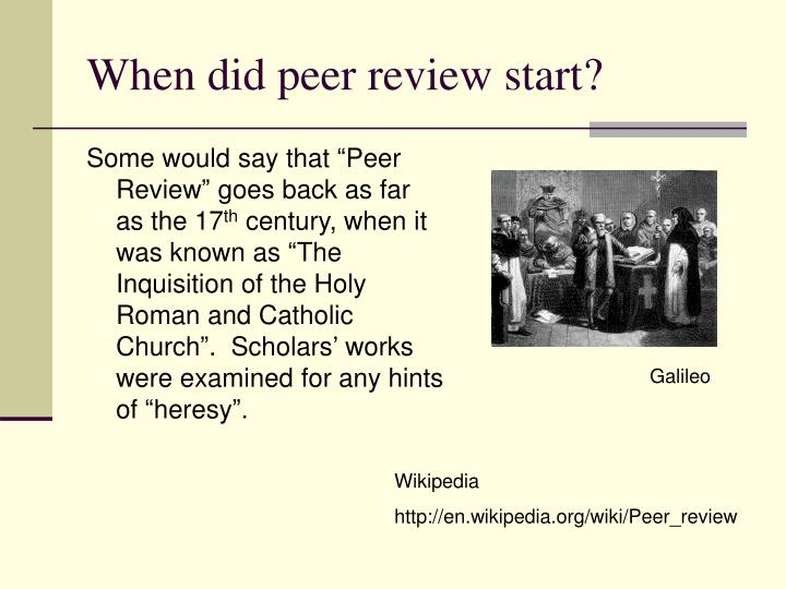 When did peer review start