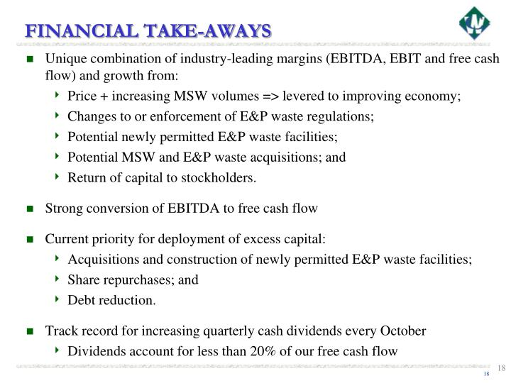 FINANCIAL TAKE-AWAYS