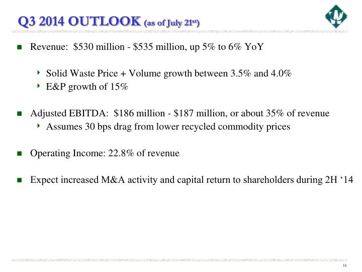 Q3 2014 OUTLOOK