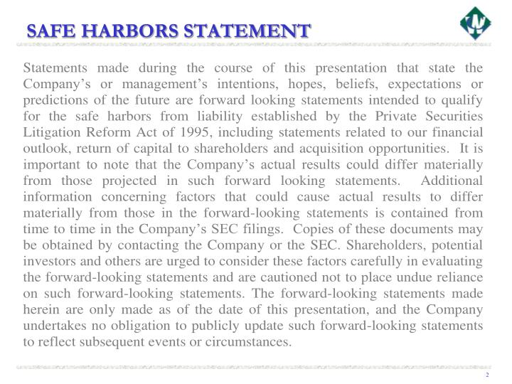 Safe harbors statement