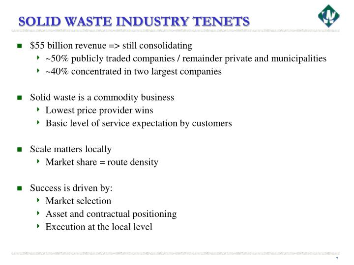 SOLID WASTE INDUSTRY TENETS