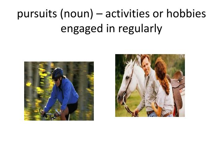 P ursuits noun activities or hobbies engaged in regularly