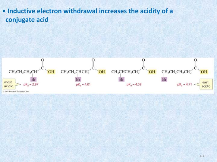 Inductive electron withdrawal increases the acidity of a