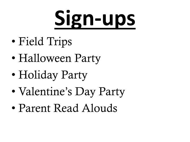 Sign-ups