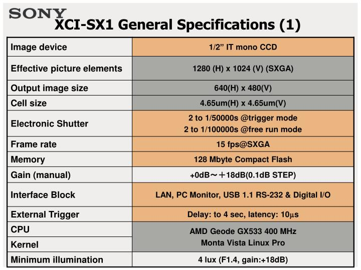 Xci sx1 general specifications 1