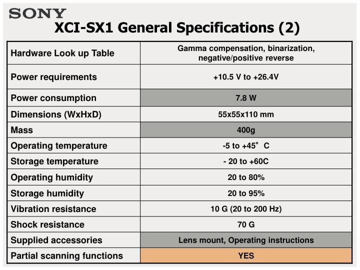 Xci sx1 general specifications 2