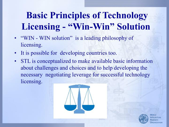"Basic Principles of Technology Licensing - ""Win-Win"" Solution"