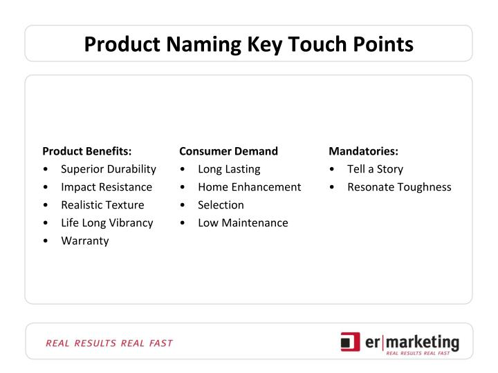 Product naming key touch points