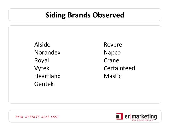 Siding Brands Observed