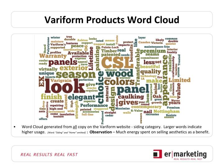 Variform products word cloud
