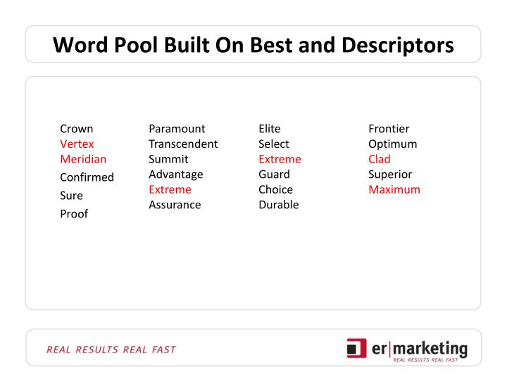 Word Pool Built On Best and Descriptors