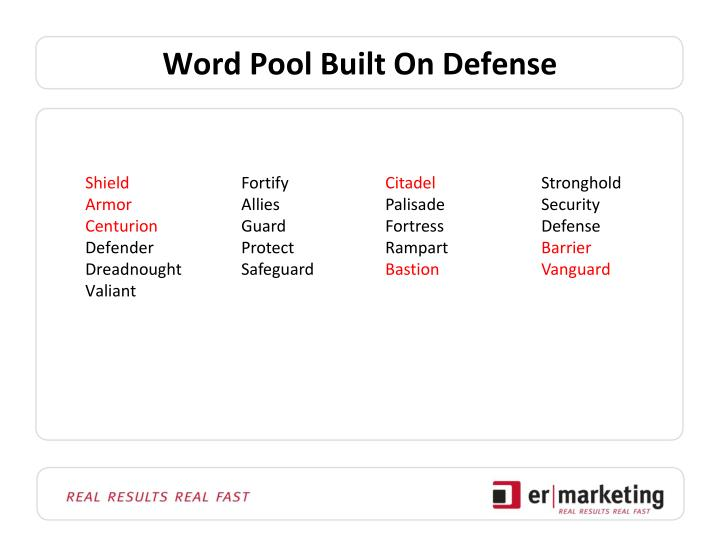 Word Pool Built On Defense