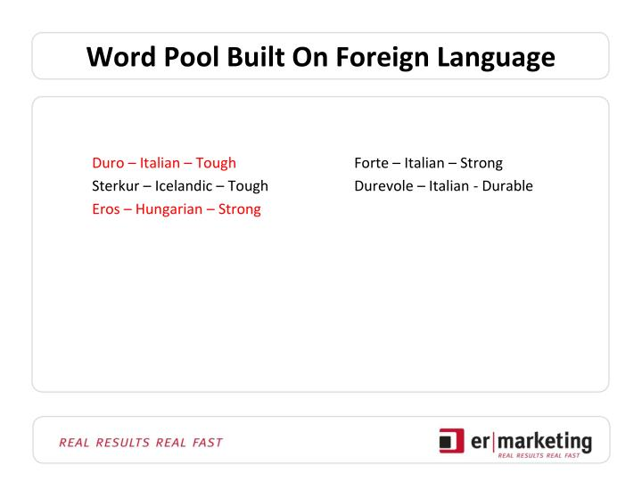 Word Pool Built On Foreign Language