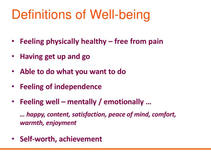 Definitions of Well-being
