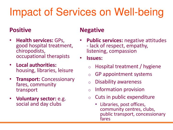 Impact of Services on Well-being